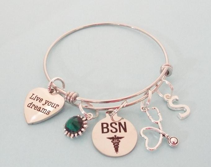 BSN Graduation Gift Charm Bracelet, Nurse Graduate Gift, Personalized Jewelry for Graduating New Nurse, Gift for Her, Custom Jewelry