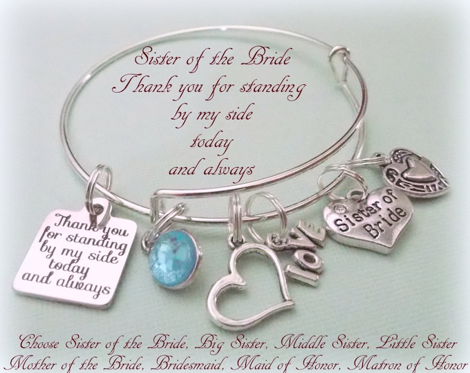 Sister of the Bride Charm Bracelet, Bride's Sister Bridal Gift, Wedding Jewelry, Personalized Bridal, Bridal Party, Gift for Her, Custom