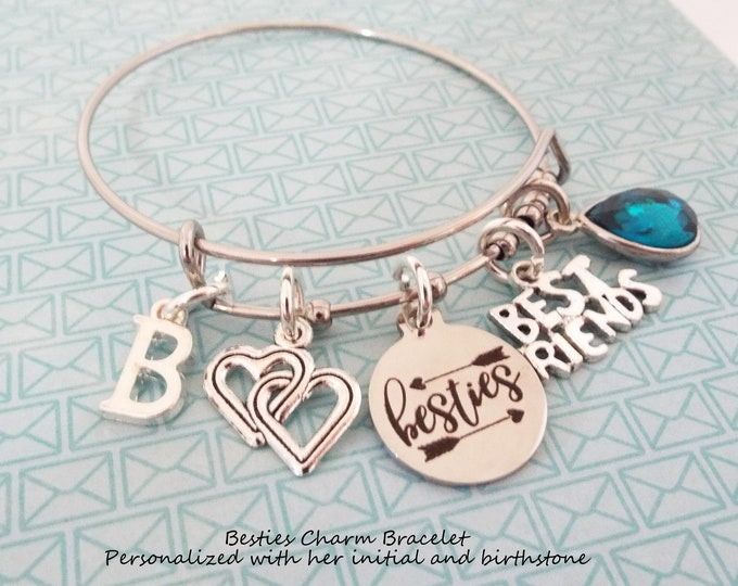 Besties Gift, Best Friend Charm Bracelet, Gift for BFF, Personalized Gift, Jewelry Gift, Gift for Her, Birthday for Her, Custom Jewelry