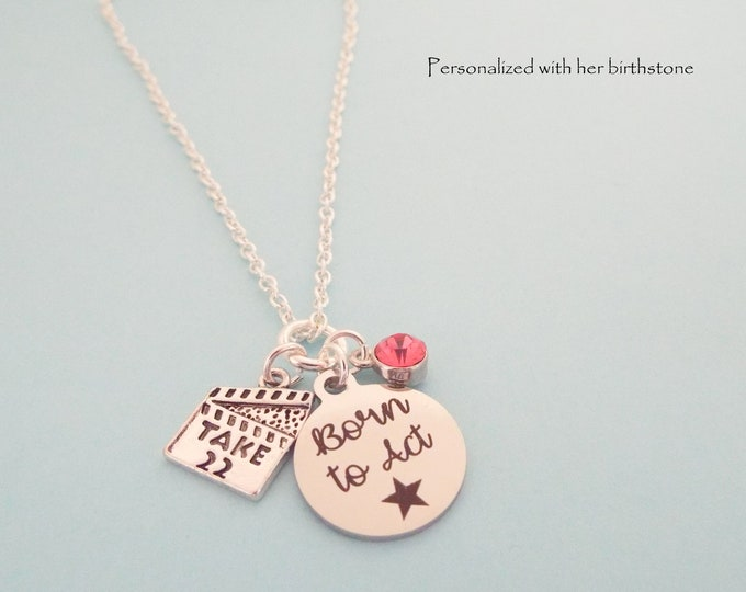 Aspiring Actress Gift, Girl Acting Necklace with Birthstone, Personalized Gift for Actor, Birthday for Girl, Theater Recital Gift Daughter