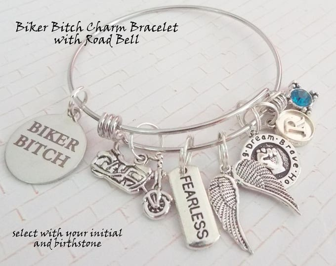 Motorcycle Bracelet for Girl, Gift for Motorcycle Rider, Biker Bitch Charm Bracelet, Custom Biker Charm Bracelet Girl, Women's Jewelry Gift