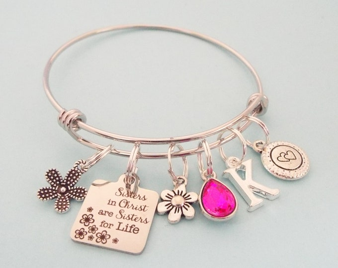 Christian Woman Gift, Sisters in Christ Charm Bracelet, Sister Birthday, Best Friend Gift Idea, Personalized Gifts, Gift for Her, Birthstone
