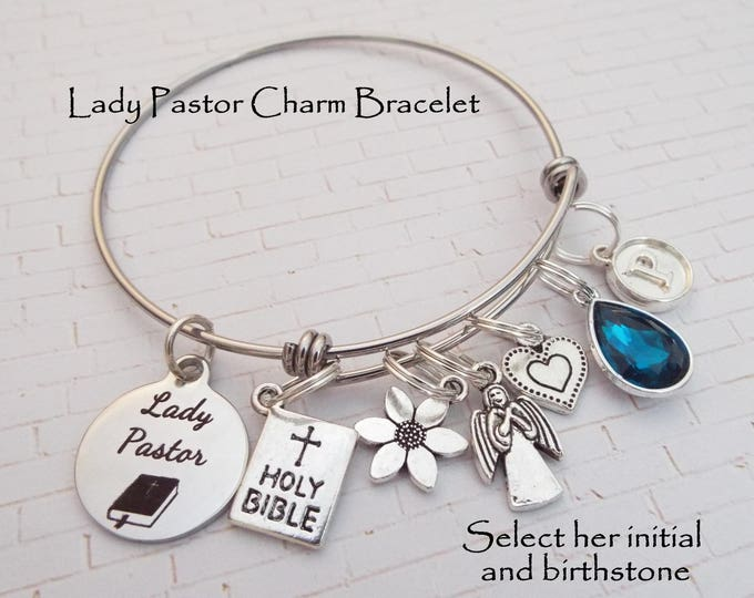 Gift for Pastor, Pastor Christmas Gift, Personalized Jewelry Gift for Her, Christian Jewelry, Religious Jewelry, Lady Pastor Charm Bracelet