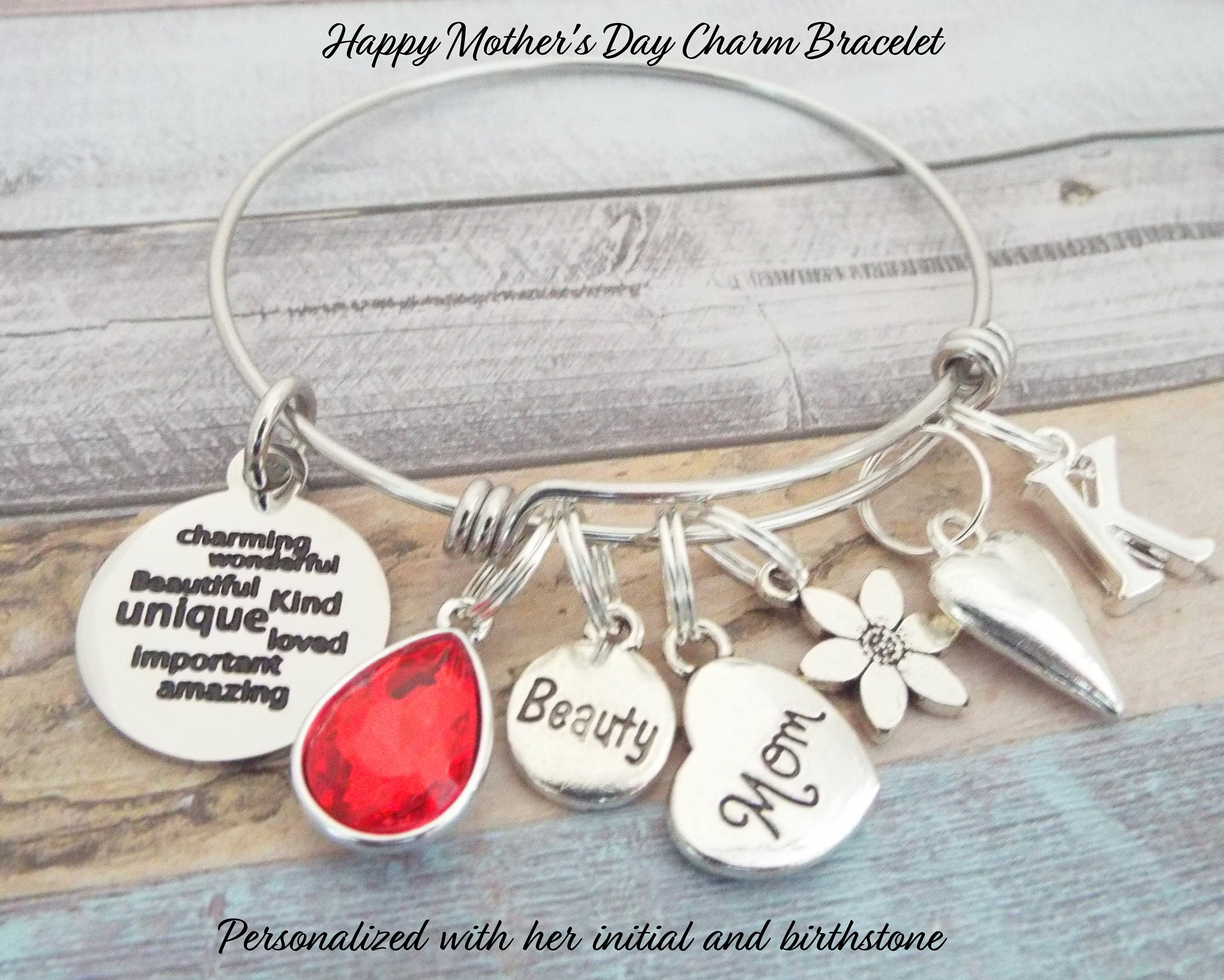 Gift For Mom Mother Moms Birthday Charm Bracelet Daughter To Her Personalized
