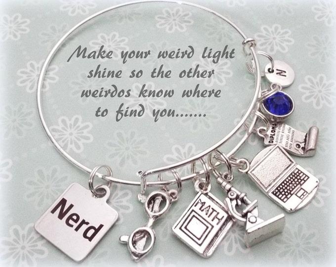 Graduation Charm Bracelet, Girl Graduation Gift, Nerd Bracelet Gift, High School Graduation Gift, Personalized Gift, Gift for Girl