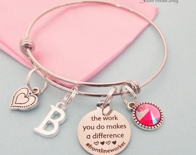 Quarantine Front Link Worker Thank You Gift, Hero Charm Bracelet, Personalized Charm Bracelet, Gift for Her, Birthstone, Initial Bracelet