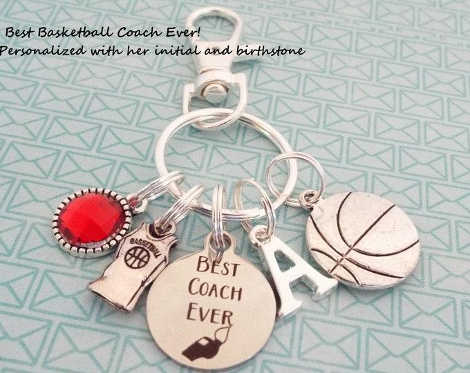 Basketball Coach Custom Keychain, Gift for Coach, Basketball Keychain, Coach Gift, Personalized Gift, Sports Keychain, Sports Gift