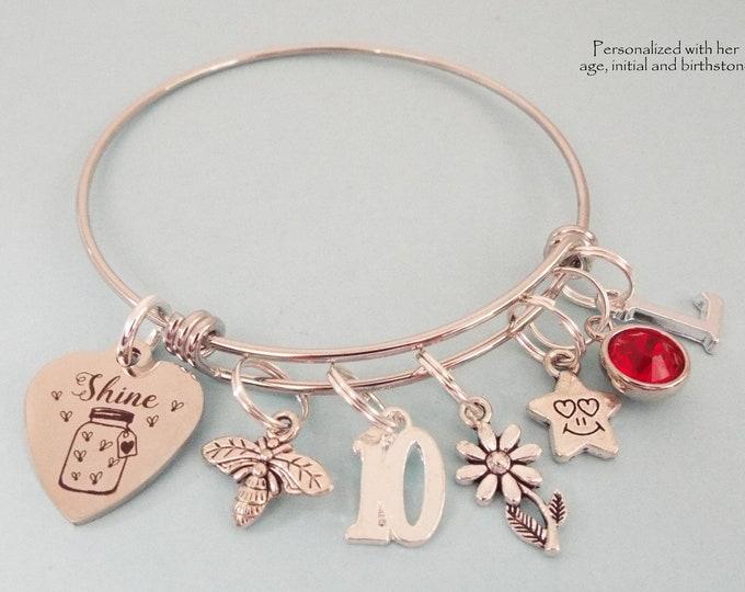 10th Birthday Girl, Personalized Birthday Gift, Daughter Birthday, Gift for Niece, Silver Bracelet, Girl's Birthday, Gift for Her
