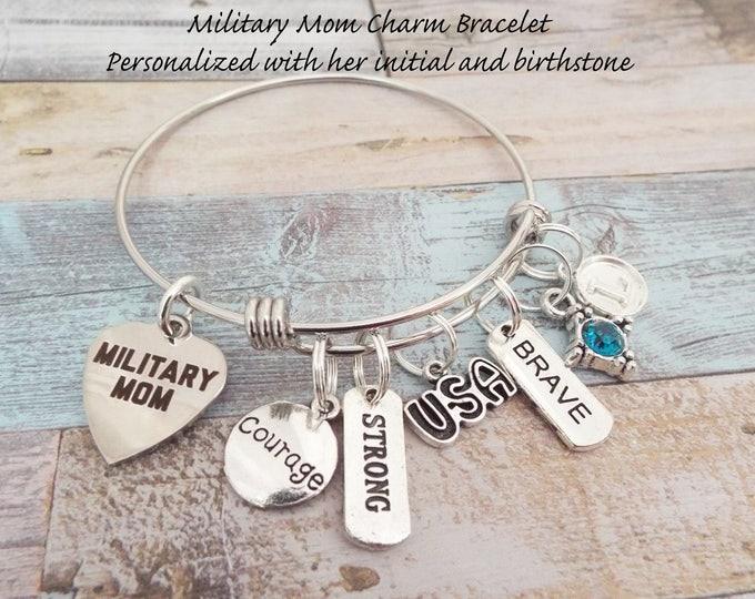Military Mom Charm Bracelet, Gift for Soldier's Mother, Patriotic Jewelry, Gift for Soldier's Mom, Personalized Gift, Custom Jewelry