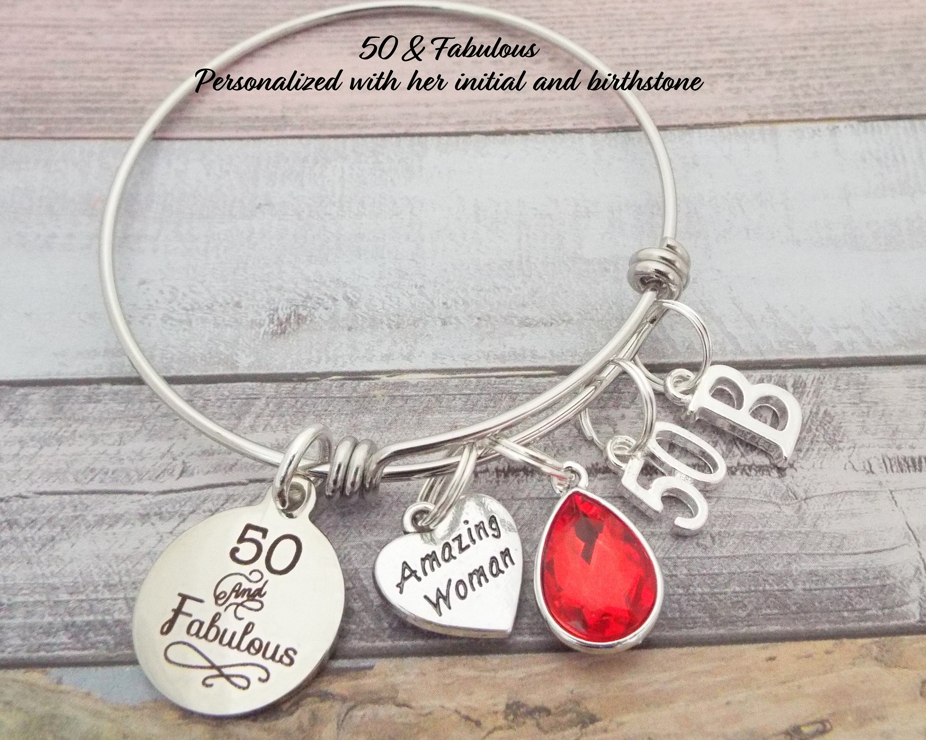 50th Birthday Gift For Best Friend Personalized Jewelry Fifty And Fabulous Charm Bracelet Turning 50