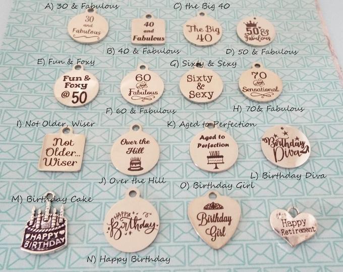 Birthday Charm, Add On Charm Charm Bracelet, Woman's Birthday, Friend Birthday Gift, Gift for Her, Personalized Gift, Girl Gift, Birthday