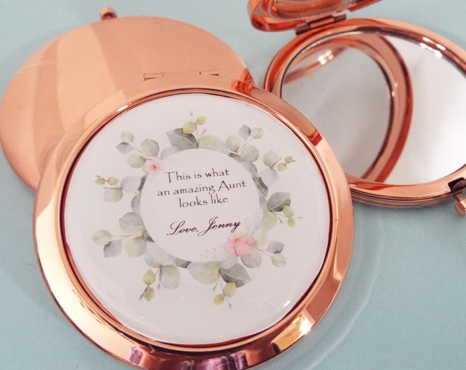 Personalized Gift for Aunt from Niece, Aunt Christmas Custom Compact, Make Up Mirror, Personalized Accessory, Birthday for Aunt, Niece Gift