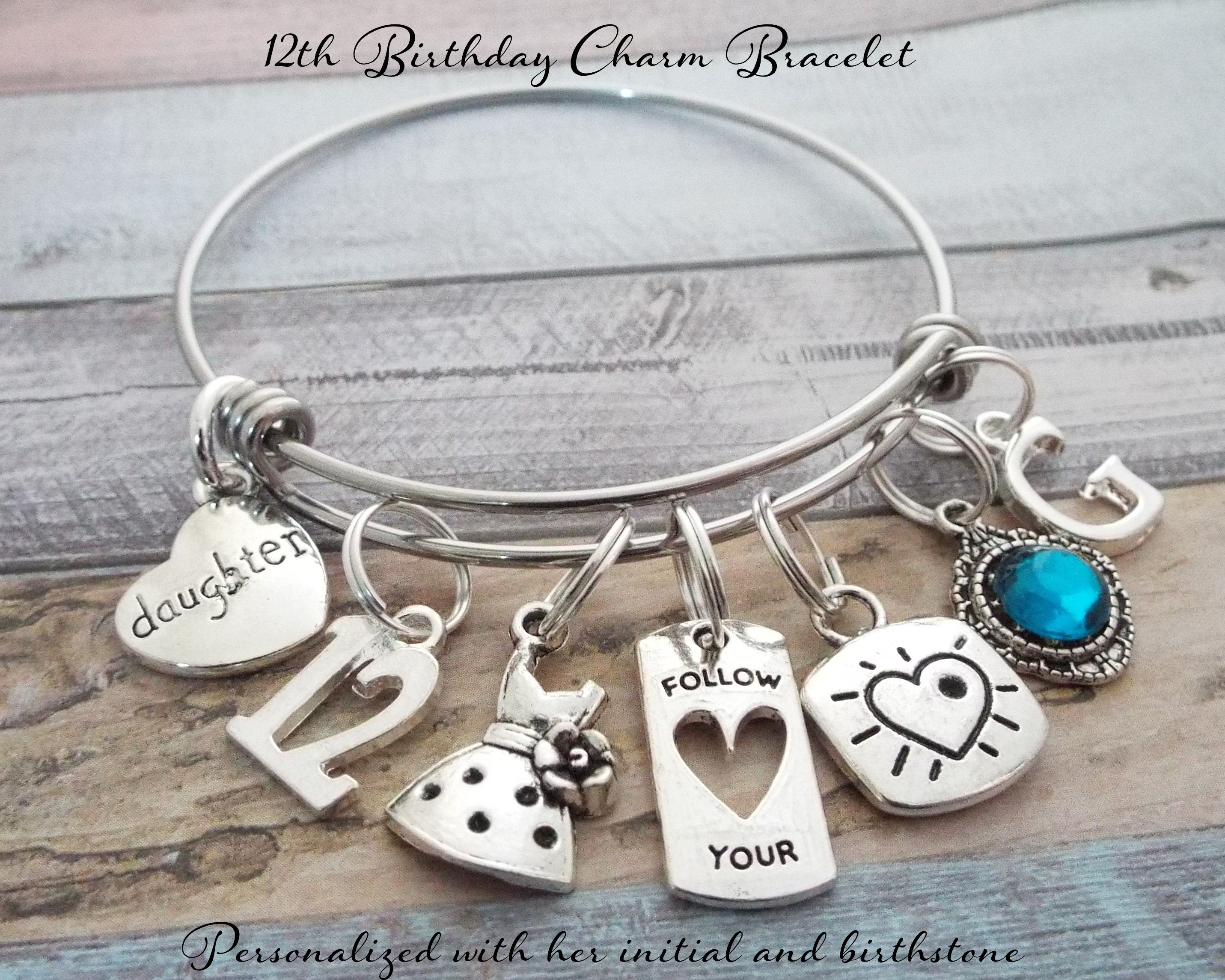 12 Year Old Girls Birthday Charm Bracelet Gift Daughter Personalized Gallery Photo