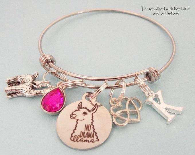 Personalized Llama Charm Bracelet, Birthday Girl Gift,  Birthstone Jewelry, Initial Bracelet, Custom Jewelry Gift, Customized Gift for Her