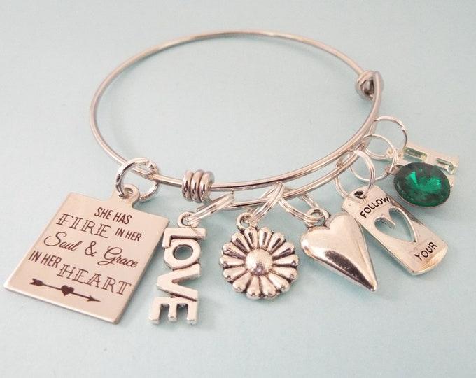 Teenage Girl Birthday Gift, Personalized Birthstone Charm Bracelet, Teenager Birthday, Gift for Her, Customized Bracelet, Girl Birthday Gift