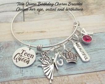 Teenager Birthday Charm Bracelet, Gift for Teenage Girl, 13th Birthday Girl, Gift for Teenager, Daughter Birthday, Granddaughter Birthday
