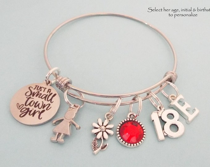 Girl 18th Birthday Charm Bracelet, Personalized Jewelry, Custom Stackable Bracelet, Layering Jewelry, Gift for Her, Birthstone Initial Gift