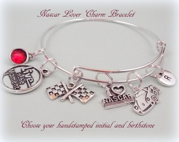 Sports Gift Idea, Sports Lover Jewelry, Car Racing Charm Bracelet, Gift for Sports Lover, Gift Ideas for Her, Women's Gift Ideas, Nascar