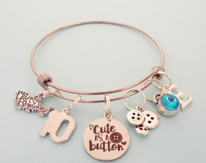 Girls 10th Birthday Gift Charm Bracelet, Personalized Jewelry Gift for Young Girl, Gift for Turning 10, Daughter Birthday, Niece Gifts
