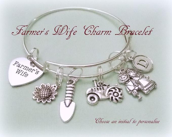 Farmer's Wife Charm Bracelet, Personalized Gift, Birthstone Jewelry, Gift for Her, Woman's Birthday, Initial Bracelet, Silver Bracelet
