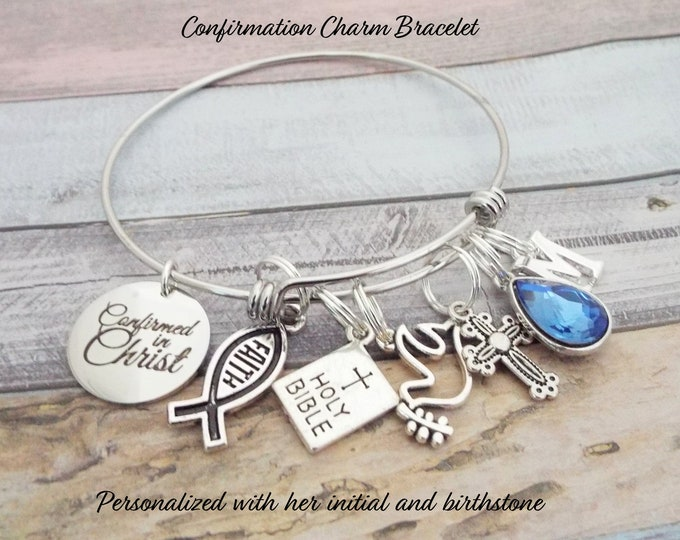 Confirmation Gift, Christian Jewelry, Scripture Charm Bracelet, Religious Jewelry, Faith Bracelet, Bible Verse, Gift for Her, Personalized