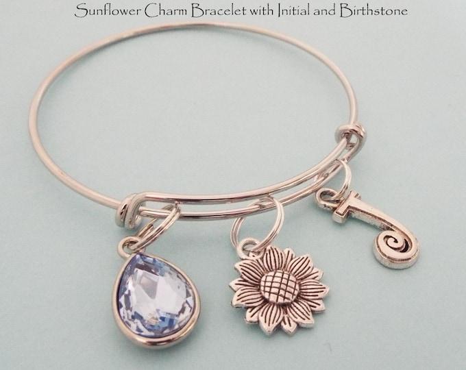 Sunflower charm bracelet, Personalized Gift, Gift for Her Personalized Bracelet, Initial, Birthstone, Monogram Birthday Gift, Friend Gift