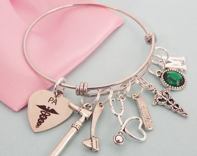 Physicians Assistant PA Graduation Gift, Personalized Jewelry for PA Graduate, Customized Birthstone Charm Bracelet for Woman Graduating