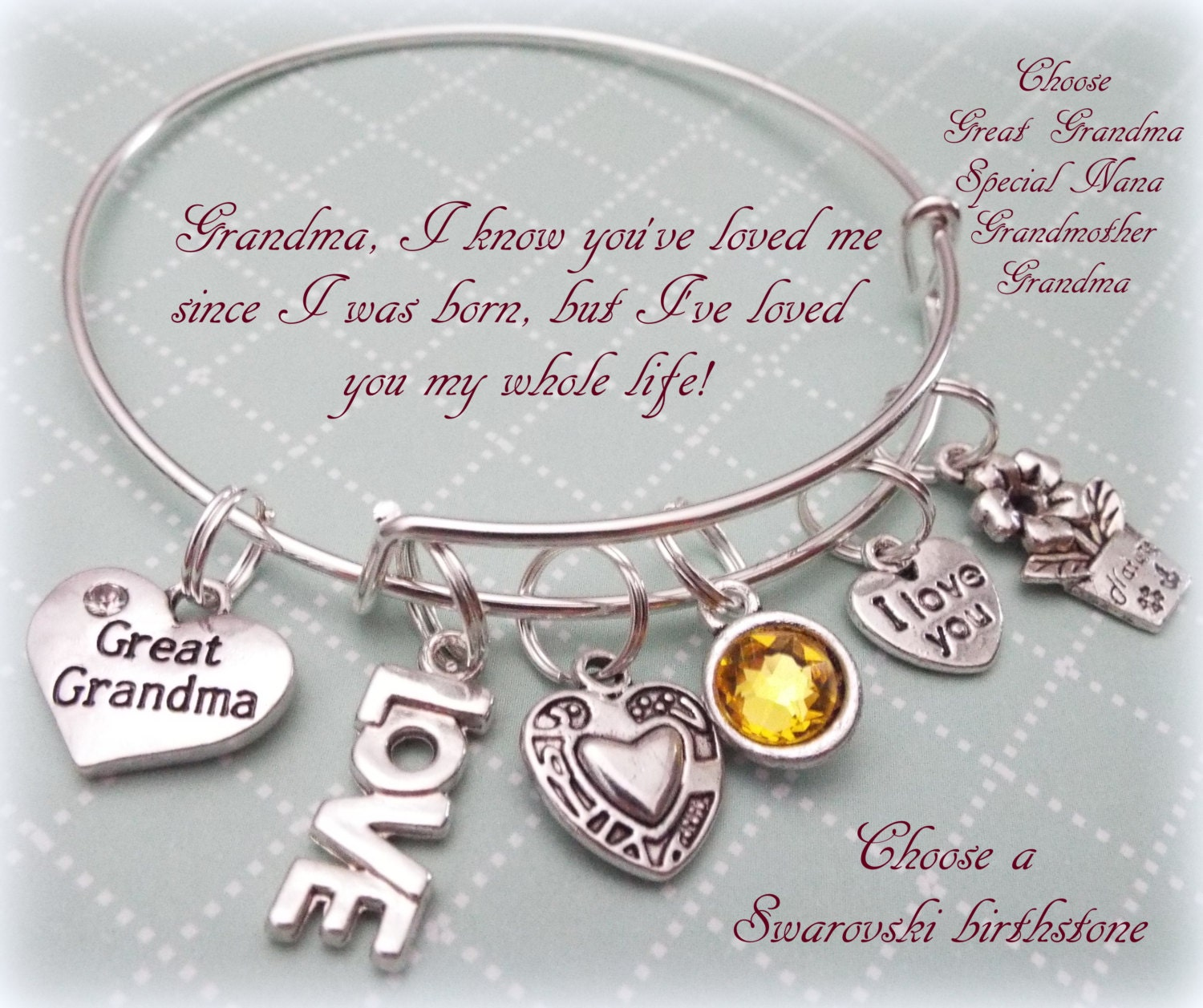 15c3858781464 Grandmother Birthstone Bracelet, Grandmother Gift, Personalized ...