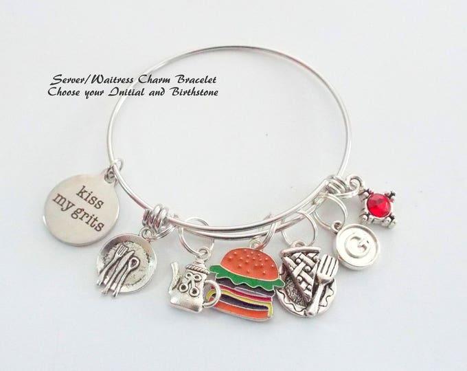 Waitress Gift, Personalized Gift, Gift for Her, Custom Jewelry, Employee Thank You, Retirement Gift, Employee Gift, Charm Bracelet