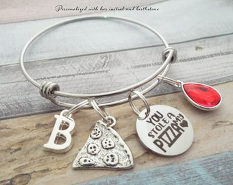 Pizza Jewelry, Friend Birthday, Birthday for Her, Daughter Birthday, Pizza Charm Bracelet, Gift for Her, Personalized Gift, Custom Jewelry
