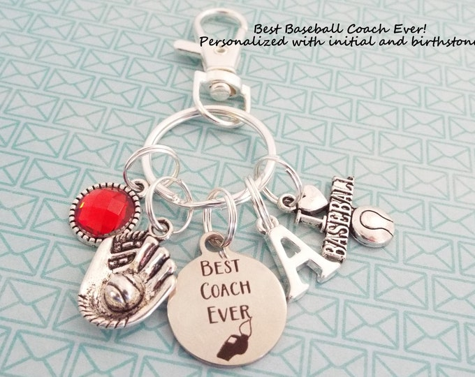 Softball Coach Keychain, Baseball Coach, Coach Gift, Personalized Gift, Custom Keychain, Gift for Her, Thank you Coach, Gift for Him