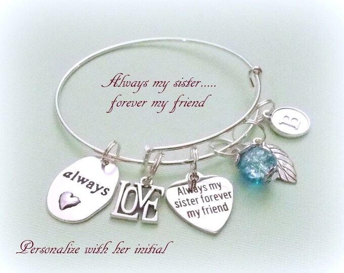 Sister Birthday Charm Bracelet, Gift for Sister, Personalized Gift, Pearl Jewelry, Initial Bracelet, Gift for Her, Bangle Bracelet, Girl