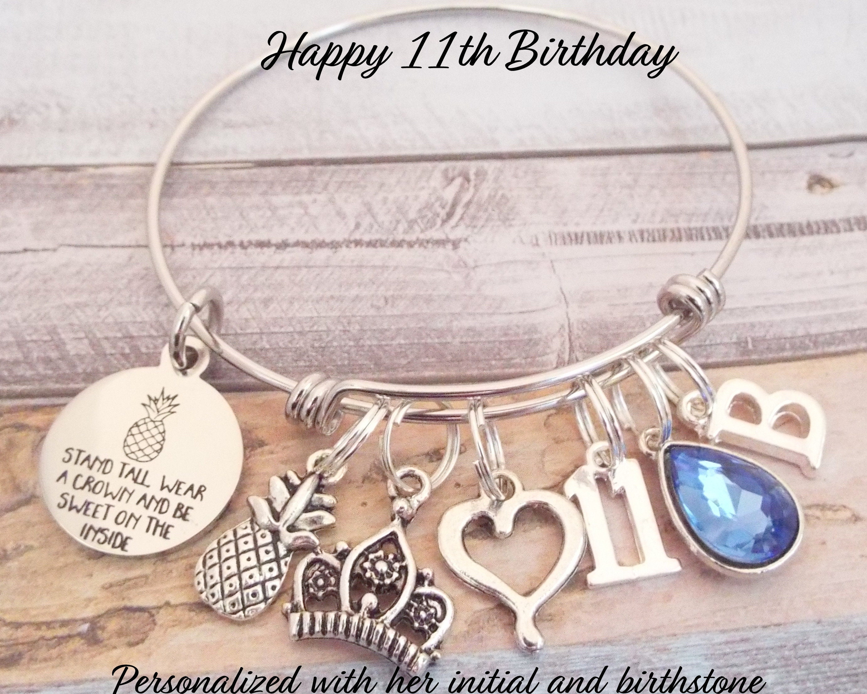Girls 11th Birthday Charm Bracelet Personalized Gift 11 Year Old Girl