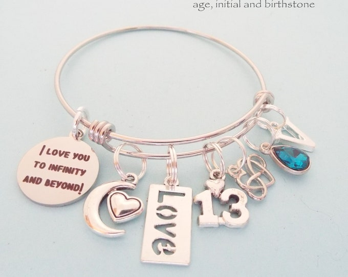13th Birthday Charm Bracelet, Birthday Gift for 13 Year old Girl, Daughter's 13th Birthday, Personalized Gift, Custom Jewelry, Gift for Her