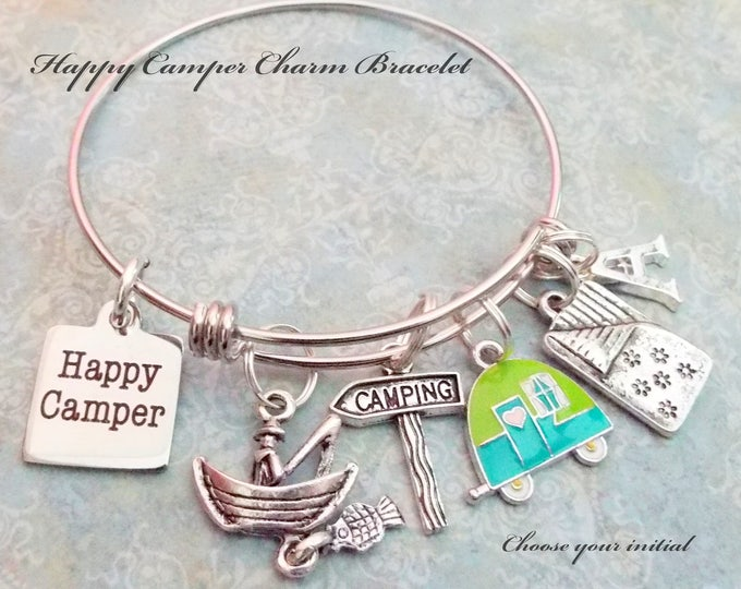 Camper Charm Bracelet, Gift for Camping Lover, Camper Lover Jewelry Gift, Birthday Gift for Her, Personalized Jewelry Gift, Gift for Girl