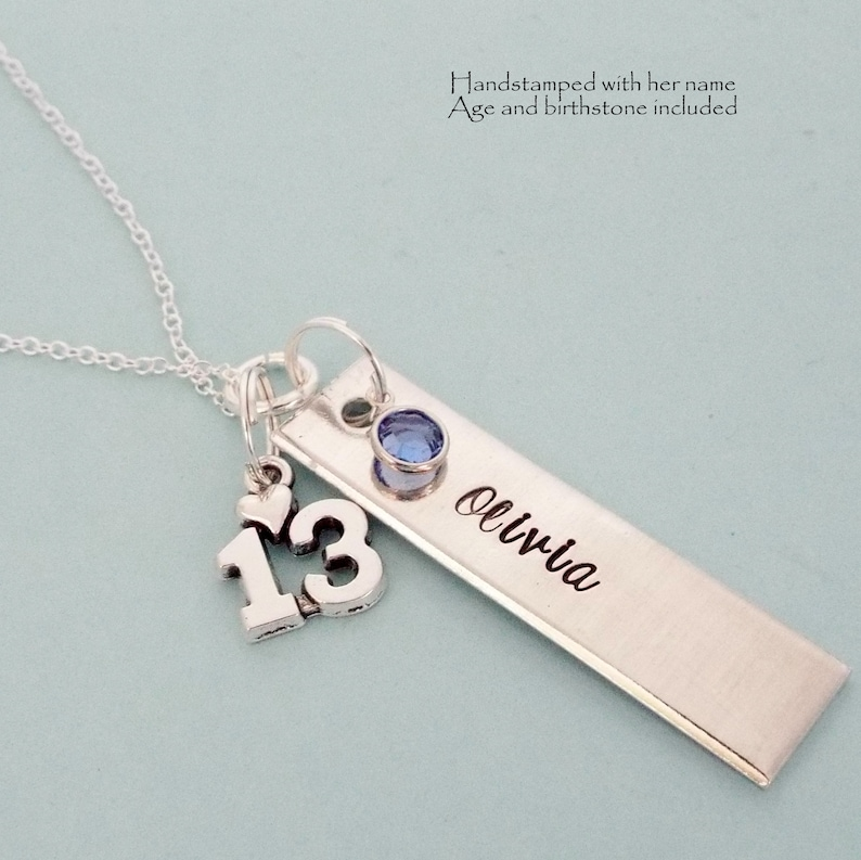 13th Birthday Necklace Gift for Girl Turning 13 Handstamped image 0