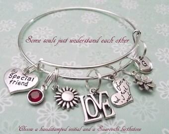 Best Friend Charm Bracelet, Gift for Best Friend, Personalized Gift for Best Friend, Personalized Charm Bracelet, Best Friend Jewelry