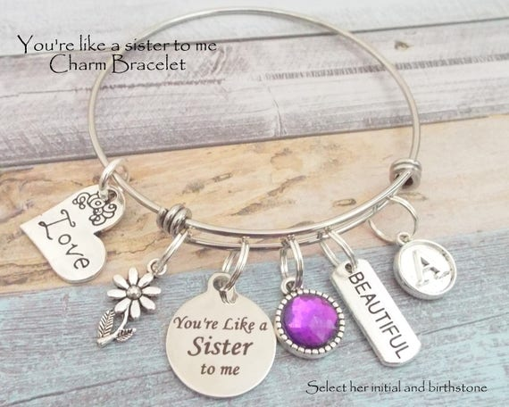 Birthstone Gift to Daughter Simple Bracelet Gift to Friend Gift to Mother Initial Charm Bracelet Granddaughter Gift to Syster Niece