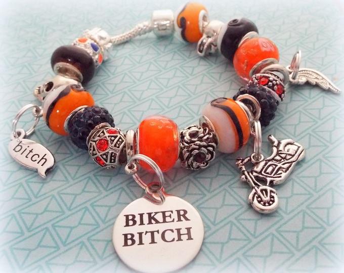 Biker Chick Charm Bracelet, Motorcycle Beaded Bracelet, Custom Jewelry, Gift for Her, Women's Jewelry, Birthday for Her, Woman's Gift, Girl