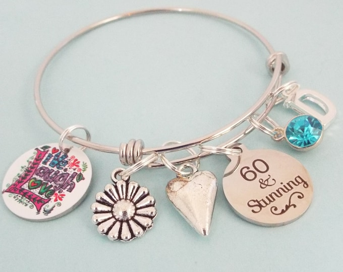 60th Birthday Charm Bracelet, Sixty Year Old Woman Birthday Gift, Personalized Gift, Silver Bracelet, Gift for Her, Birthday for Her, Sister