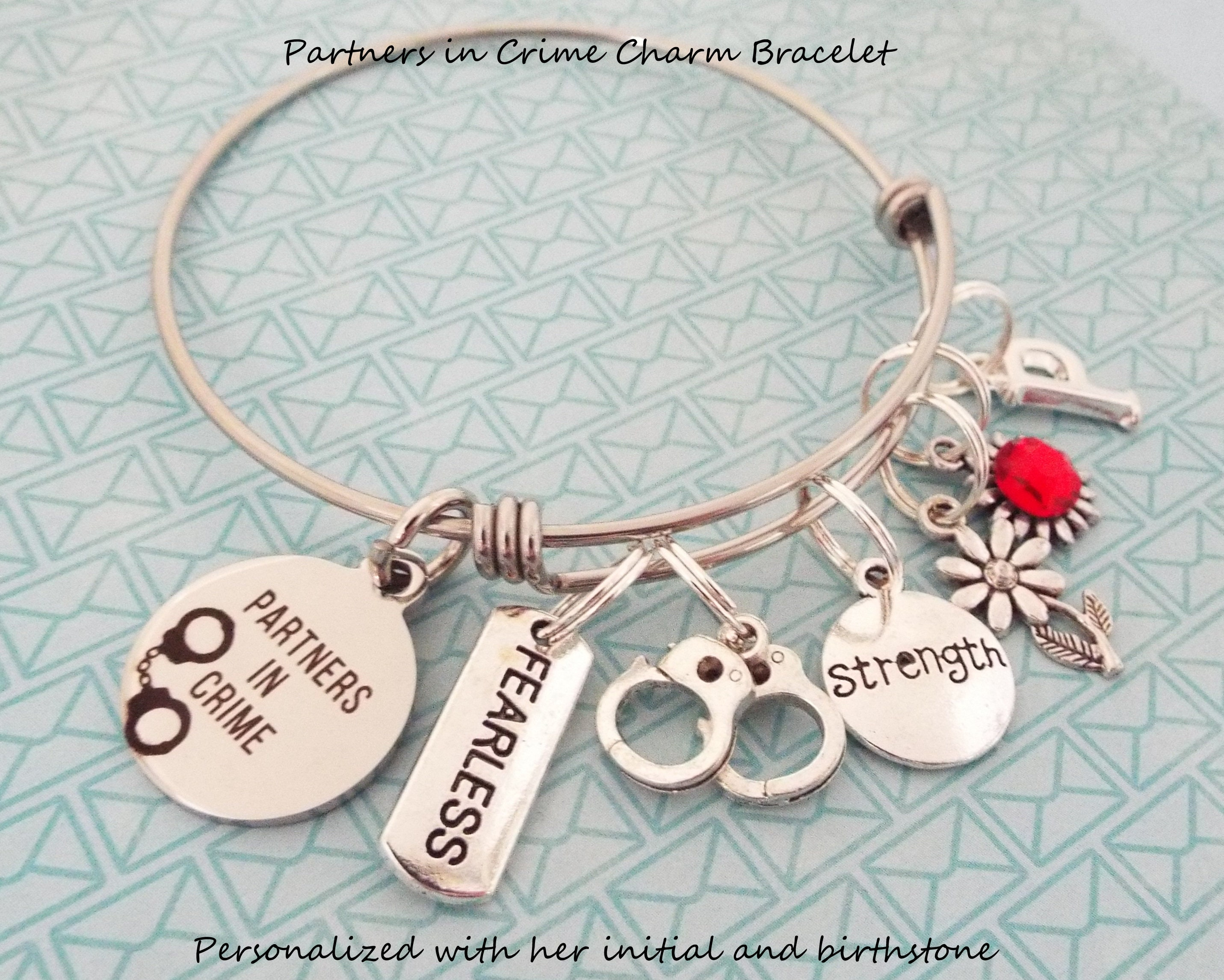 Best Friend Birthday Gift Partners In Crime Charm Bracelet For