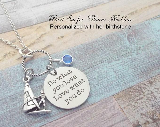 Windsurfer Gift, Birthstone Jewelry, Windsurfing Necklace, Gift for Her, Sports Jewelry, Custom Jewelry, Girl's Birthday Gift, Women's Gift