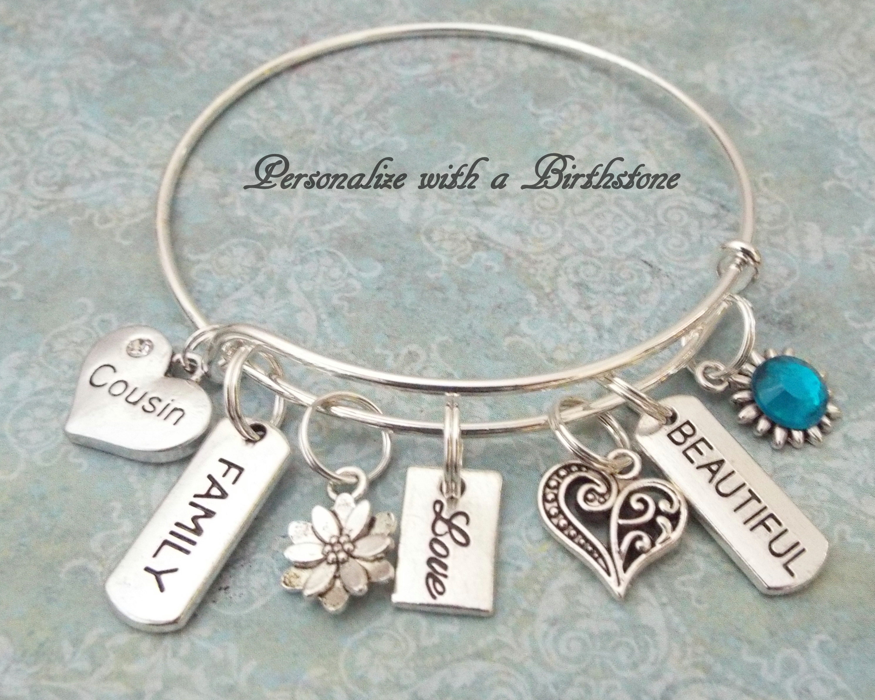 Girl Cousin Gift Personalized Birthday Birthstone Jewelry Initial Bracelet Womens Girls For Her