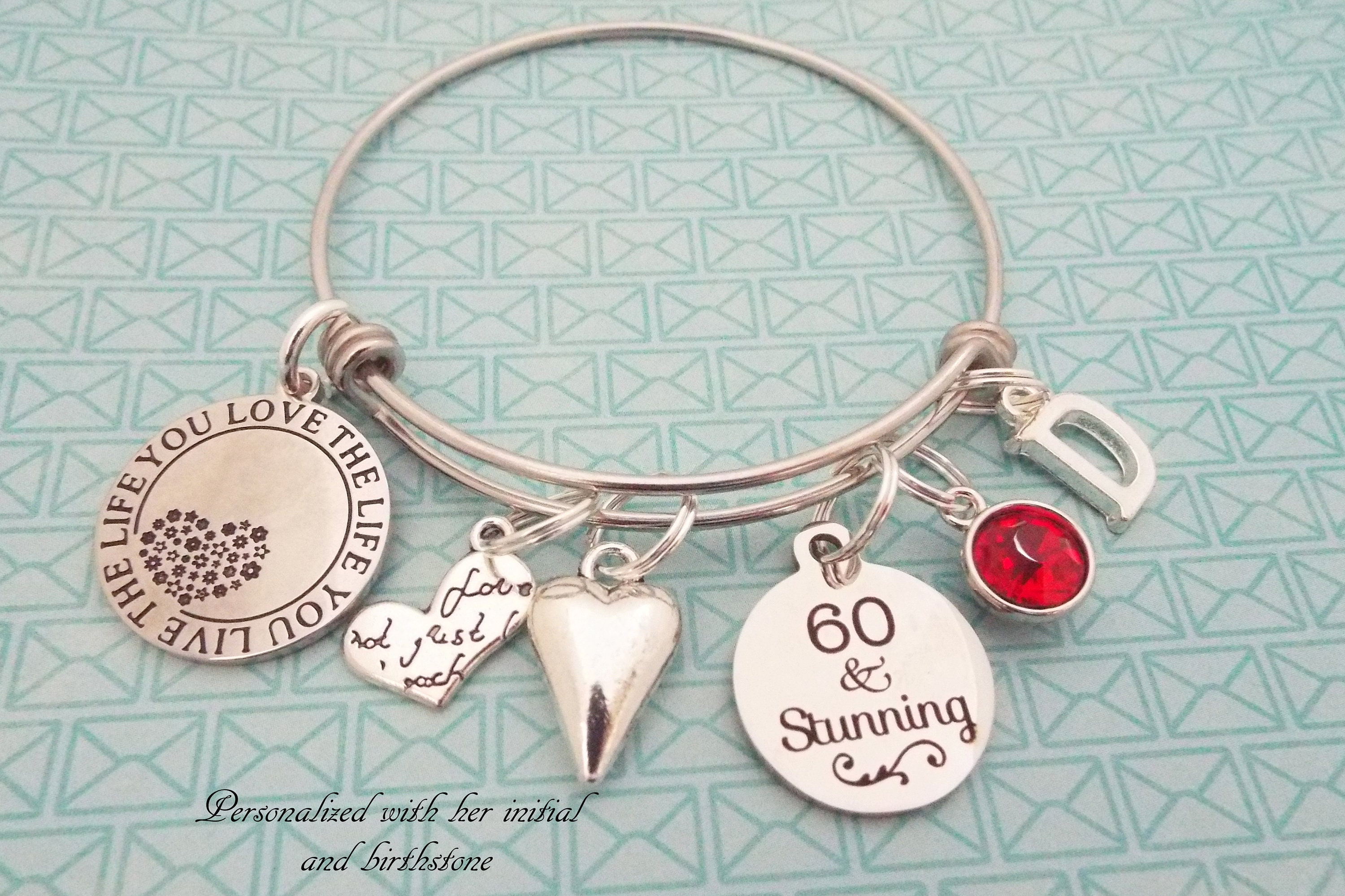 60th Birthday Charm Bracelet Sixty Year Old Woman Gift