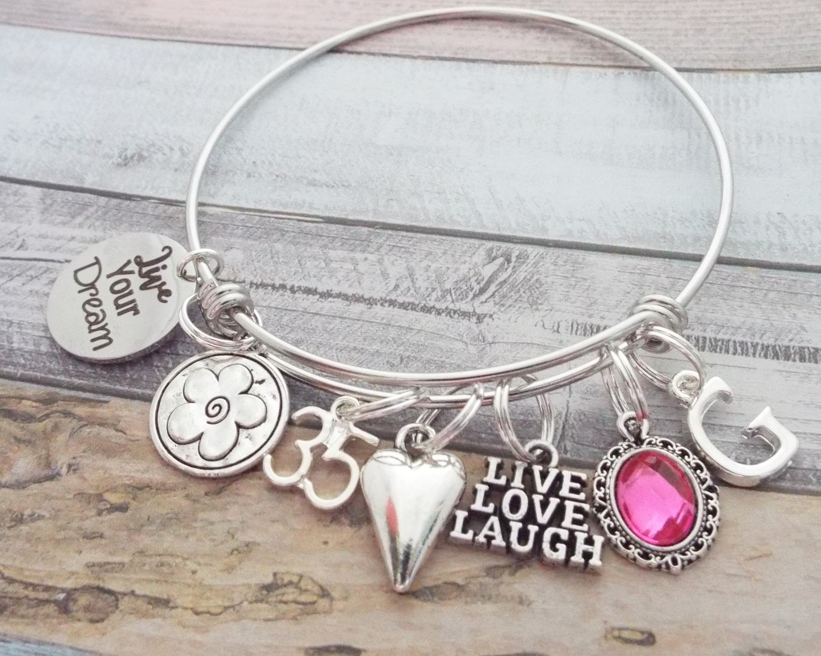35th Birthday Gift Womens For Woman Turning 35 Charm Bracelet Personalized Her