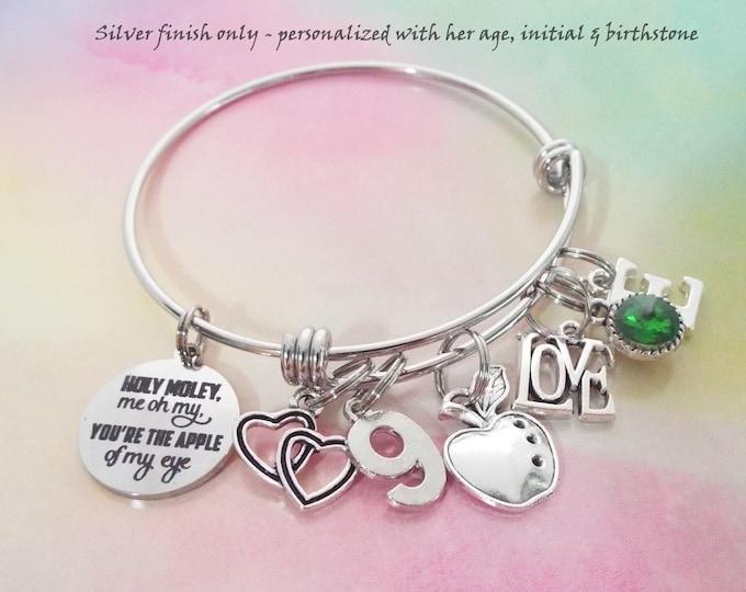 9th Birthday Girl, Daughter Birthday, Personalized Birthstone Charm Bracelet, Girl Turning 8 Years Old, Gift for Her, Granddaughter Birthday