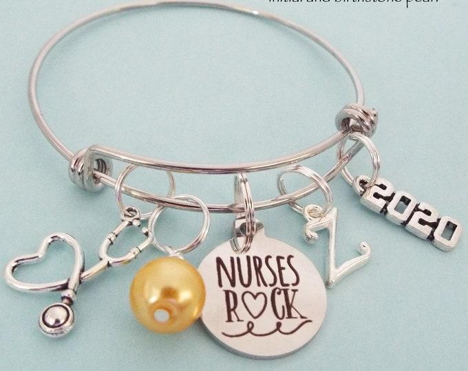 Nurse Thank You Gift, RN Graduation Gift, Nurse Graduate Charm Bracelet, Nursing Graduating, Personalized Gift, Custom Jewelry Gift for Her