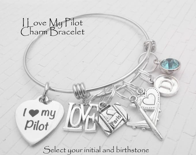I Love My Pilot Charm Bracelet, Gift for Pilot's Wife, Gift for Wife of Pilot, Personalize Gift, Gift for Her, Women's Jewelry, Jewelry Gift