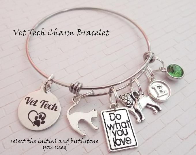 Veterinarian Charm Bracelet, Personalized Gift Ideas for Vets, Vet Gift Ideas, Thank You Gift for Veterinarians, Vet Tech Gift Ideas,