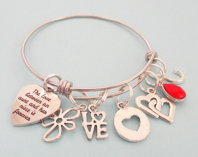 Birthday Gift for Niece, Aunt to Niece Gift, Personalized Gift for Her, Custom Jewelry, Birthstone Bracelet, Heart Charm Bracelet For Girl